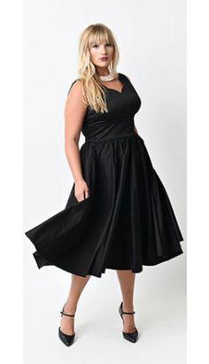 Plus Size 1950s Style Black Cotton Sateen Scallop Brenda Swing Dress