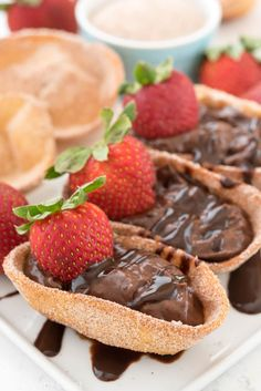 Chocolate Churro Pies - an easy party recipe! Fry up some tortillas, roll them in cinnamon sugar, and fill them with rich chocolate pudding!