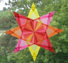 4 Color Waldorf Window Star in Yellow Pink by harvestmoonbyhand, $11.00