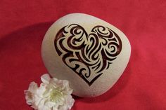 Engraved Paperweight River Stone HEART Rock by SandStudios on Etsy, $10.00