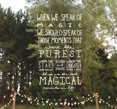 When we speak of magic
