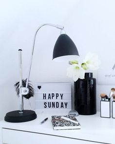 Office Bar, Lightbox, Happy Sunday, Workplace, Lamps, Decor Ideas, Detail, Black And White, Interior Design
