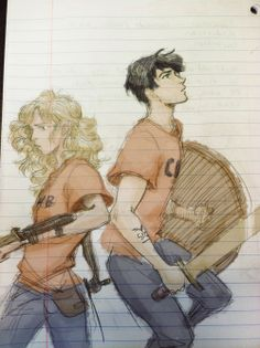 Yet again wish I could draw like this. Percy Jackson and Annabeth Chase. :)