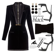 """Mission Monochrome: All-Black Outfit"" by afef-ktari ❤ liked on Polyvore featuring Shiraleah, Balmain, Giuseppe Zanotti, MANGO, H&M and allblackoutfit"