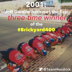 Jeff Gordon became the first three-time winner of the #Brickyard400 during the 2001 #NASCAR Cup event at Indy.