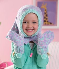 Child's Ski Hood & Mittens Free Knitting Pattern from Red Heart Yarns