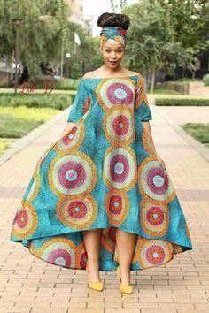 Rainbow Off-Shoulder + Head Wrap Dress - African Fashion Dresses