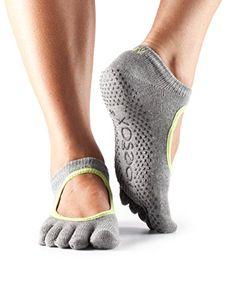 ToeSox Womens Bella Full Toe Grip NonSlip for Yoga Pilates Barre Ballet Toe Socks Heather GreyLime Trim Medium -- Want additional info? Click on the image.