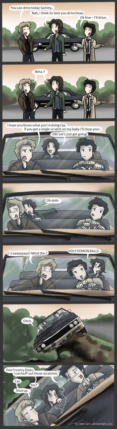 Cas drivin' the Impala - this so needs to be an episode.     Dean's biggest regretby ~Star-Jem