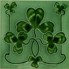 Shop by Category Antique Tiles, Vintage Tile, Design Art Nouveau, Celtic Shamrock, Art Nouveau Tiles, Irish Art, Office Gifts, Office Decor, Tile Art