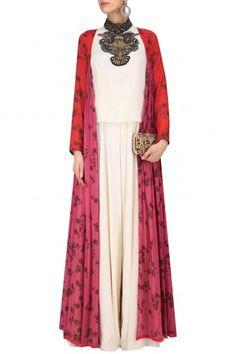 Saaksha & Kinni White Zardosi Embroidered Jumpsuit with Red and Pink Jacket #happyshopping #shopnow #ppus