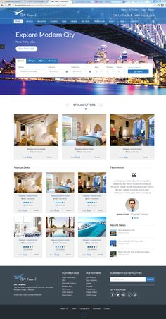 hotel website IBN Travel - and Responsive Template on Behance Travel Book Layout, Book Design Layout, Web Layout, Design Layouts, Design Ideas, Travel Website Design, Travel Design, Website Design Inspiration, Mise En Page Web