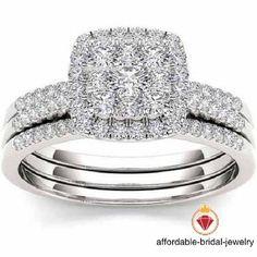 Women's 10K White Gold Finish Diamond Engagement Ring Wedding Band Bridal Set #affoin8