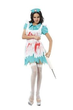 b353efadebace Ladies Nurse Halloween blood splattred nurse Fancy Dress Outfit 10-14#blood #splattred