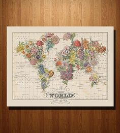 Vintage Map Art, Small Bouquet, Floral World Map Art