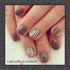 Shellac manicure with white stripes and corner flower nail art design by nailsbynikkip