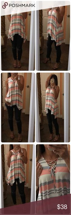 ❤️Pink Striped Too/Tunic ♥️ ♥️Multi color striped rayon jersey shark-bite sleeveless tunic. ♥️featuring deep v-neckline with lace-up details.  ♥️Non-sheer. Knit . Lightweight . ❤️True to size S (2-4) M (6-8) L(10-12) ❤️ MADE IN USA Tops Tunics