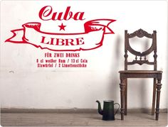 """Wall Decal Cocktail Recipe 11409 """"Cuba Libre"""" W. Cuba Libre Drink, Cuba Libre Recipe, Cuba Libre Cocktail, Cocktails, Cocktail Recipes, Cola Rum, Viva Cuba, Rustic Wooden Table, Wall Stickers Animals"""