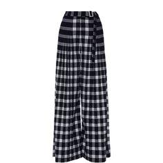 Rahul Mishra Plaid Pleated Trousers ($525) ❤ liked on Polyvore featuring pants, black, high-waisted wide leg pants, plaid trousers, pleated trousers, high-waisted trousers and pleated wide leg pants