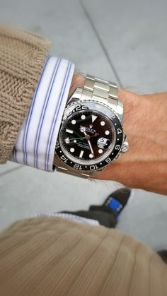 Rolex GMT Master II Black Ceramic Bezel, Black Dial, Stainless Steel band polished. A&E Watches