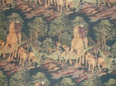 $8.99 Upholstery Fabric English Dog Hunt Print 4 3/4 Yards Drapes Navy  #Unknown