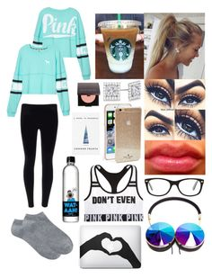 """Lazy Day!!!"" by cookiesforliam ❤ liked on Polyvore featuring Victoria's Secret PINK, Allurez, Laura Mercier, Ray-Ban, Frends, Kate Spade and Victoria's Secret"