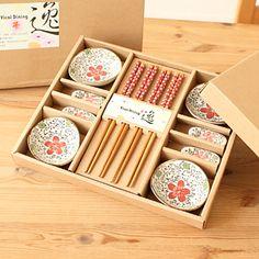 Classical dinnerware set ceramic dish bamboo chopsticks 12 tableware exquisite gift box set 35725 $8.57