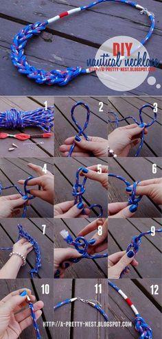 Gioielli nautici - DIY: Nautical necklace * ( A Pretty Nest) Do It Yourself Jewelry, Do It Yourself Fashion, Necklace Tutorial, Diy Necklace, Diy Bracelet, Crochet Necklace, Jewelry Crafts, Handmade Jewelry, Diy Collier