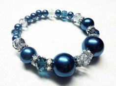 Slate Blue Pearl & Faceted Glass Bead Bracelet by TheVillageSmithy, $12.00