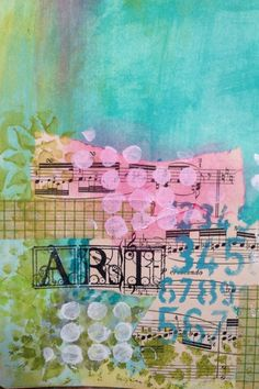 Art Journaling with Pan Pastels and Helmar; stage 1 - lots of pretty things on her site...