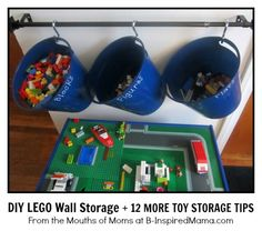 """How do you organize kids' toys?  Check out this DIY Wall LEGO Storage solution and 12 more Smart Storage ideas for kids toys """"from the mouths of moms"""" at B-InspiredMama.com."""