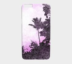 Cell Phone Case Design 101 Palm Tree Purple - Iphone 8, 7, 6/6s Plus, 5/5s, Samsung Galaxy S8, S7, S6, Edge, S5, S4, S3 art by L.Dumas by artbyLucie on Etsy #phonecases #phone