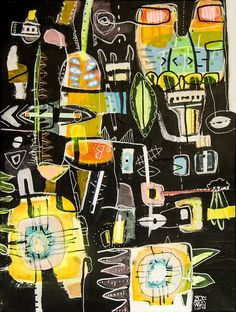 """Olaf Boqwist 2017, """"Mervyn"""", 30x40cm, acrylic paint and collage on canvas   #abstractexpressionism #painting #mixedmedia #boqwist #pattern #abstractart"""