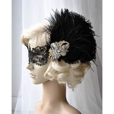 Vintage Inspired Headband the Great Gatsby Headband 1920s Headpiece... ($59) ❤ liked on Polyvore featuring accessories, hair accessories, black, headbands & turbans, head wrap headbands, 20s feather headband, flapper feather headband, flapper headband and headband fascinator