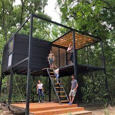 Gallery of Bridge Pavilion / alarciaferrer arquitectos - 5 Container Shop, Container Cabin, Container House Plans, Container House Design, Tiny House Design, Container Buildings, Container Architecture, Architecture Design, Steel Frame House