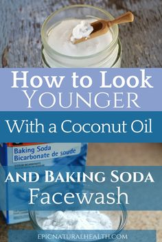 How to look younger with coconut oil and baking soda facewash Natural Coconut Oil, Coconut Oil For Acne, Coconut Oil Hair Mask, Coconut Oil Uses, Benefits Of Coconut Oil, Organic Coconut Oil, Coconut Oil Facial, Coconut Oil Lotion, Baking Soda Coconut Oil