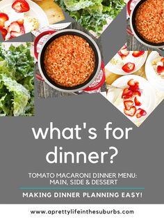 This comforting Tomato Macaroni Dinner Menu includes a simple and delicious pasta recipe, a salad and dessert! Dinner is ready in less than one hour! Yummy Pasta Recipes, My Recipes, Dinner Recipes, Yummy Food, Angel Food Cake Desserts, Healty Dinner, Side Salad, Dinner Menu, Macaroni
