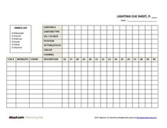 Expanded Lighting Cue Sheet Form: Lighting Cue Sheet Form (Additional Pages)