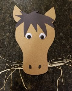 Letter H Preschool Craft - Hungry horse eating hay. (**We precut the pieces for our 3 year old class to assemble. The 4 year old class cut out the head, but not the mane or ears. Googly eyes and black marker for his H Preschool Crafts, Farm Animals Preschool, Farm Animal Crafts, K Crafts, Farm Crafts, Animal Crafts For Kids, Summer Crafts For Kids, Horse Crafts, Bible Crafts