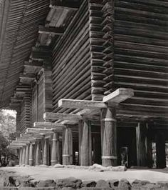 Dojo, Log Wall, Wood Joinery, Wood Structure, Diy Shed, Japanese Architecture, Koh Samui, Japanese House, House In The Woods