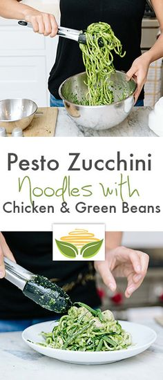 Pesto Zucchini Noodles with Chicken and Green Beans - Inspiralized Green Zucchini, Green Pesto, Pesto Zucchini Noodles, Veggie Noodles, Zoodle Recipes, Spiralizer Recipes, Spiral Vegetable Recipes, Chicken Green Beans, Lean And Green Meals