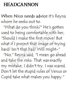 Heroes of Olympus Headcannon. Nico and Reyna's friendship ftw.