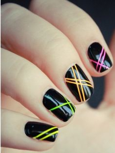 Striping tapes and neons Nails  | See more at http://www.nailsss.com/acrylic-nails-ideas/3/