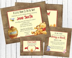 Winnie the Pooh Baby Shower Invitation Set - Gender Neutral by ShowerSigns on Etsy https://www.etsy.com/listing/286932569/winnie-the-pooh-baby-shower-invitation