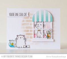 Handmade card from Anna Kossakovskaya featuring Birdie Brown Cool Cat stamp set…