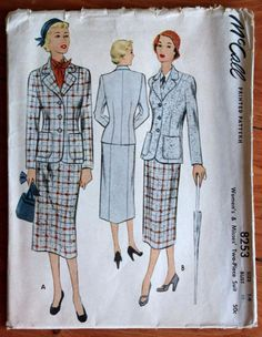 1950 McCall Printed Pattern 8253 Woman's Two Piece Suit, Bust 32