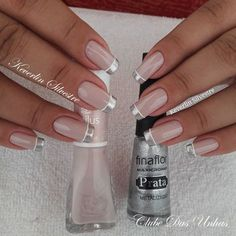 Silver French tips. French Nails, Silver French Manicure, Cute Nails, Pretty Nails, Nagel Gel, Gorgeous Nails, Manicure And Pedicure, Pedicures, Nail Arts