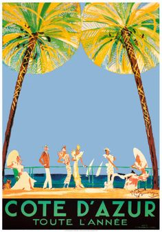 Vintage Travel Poster - Cote d'Azur - by Jean-Gabriel Domergue. Vintage French Posters, Vintage Travel Posters, French Vintage, French Art, French Beach, Old Poster, Poster Ads, Poster Prints, Art Prints