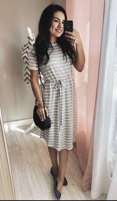e002b3e6b7 Gray Striped Midi Dress - Chic Modest Dresses. Knee Length Dress.