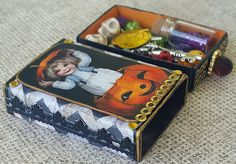 Halloween Altered Matchbox Swap | Collaged Altered Matchbox filled with Halloween tiny treasures.